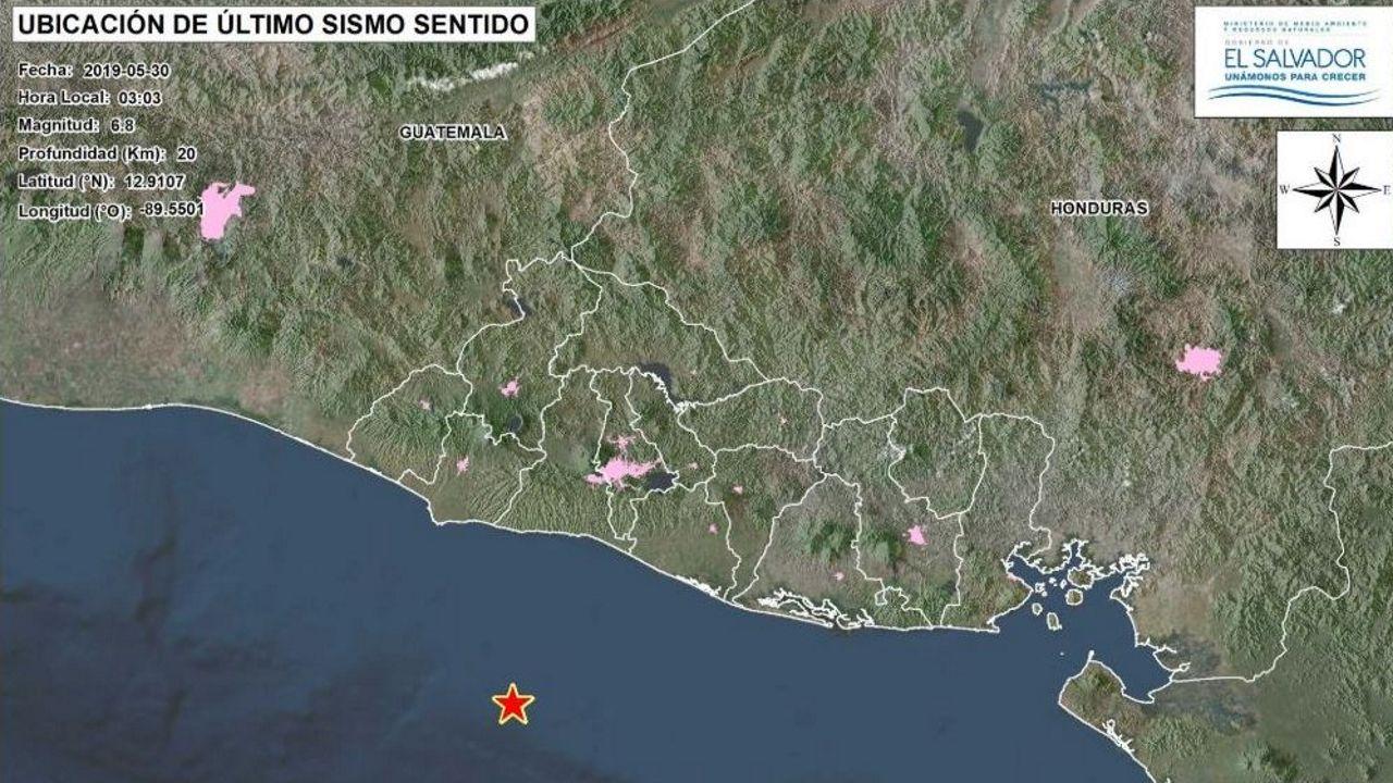 Ubicación del epicentro de magnitud 6,8