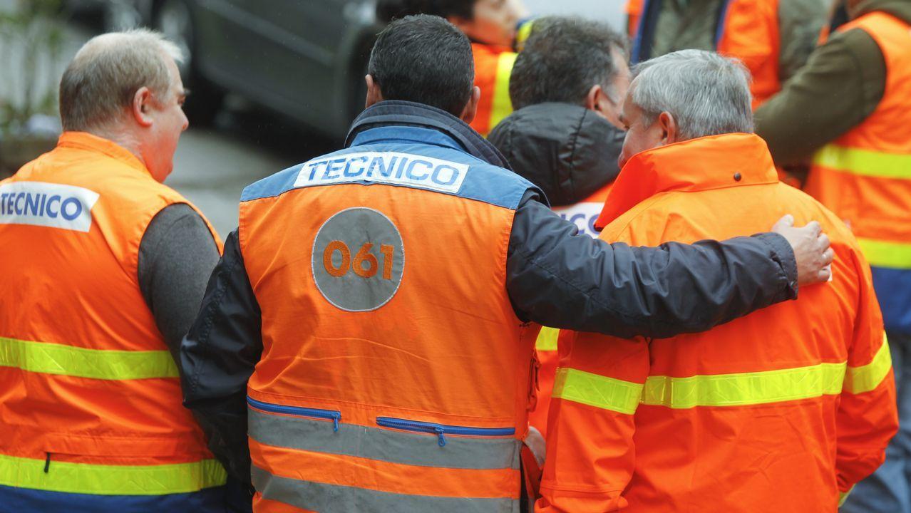 Trabajadores del sector de las ambulancia durante una de las concentraciones de la huelga