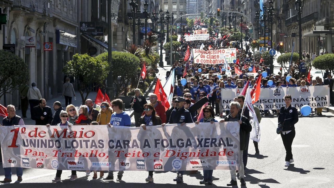 .Manifestación en Vigo durante la celebración del Día del Trabajo