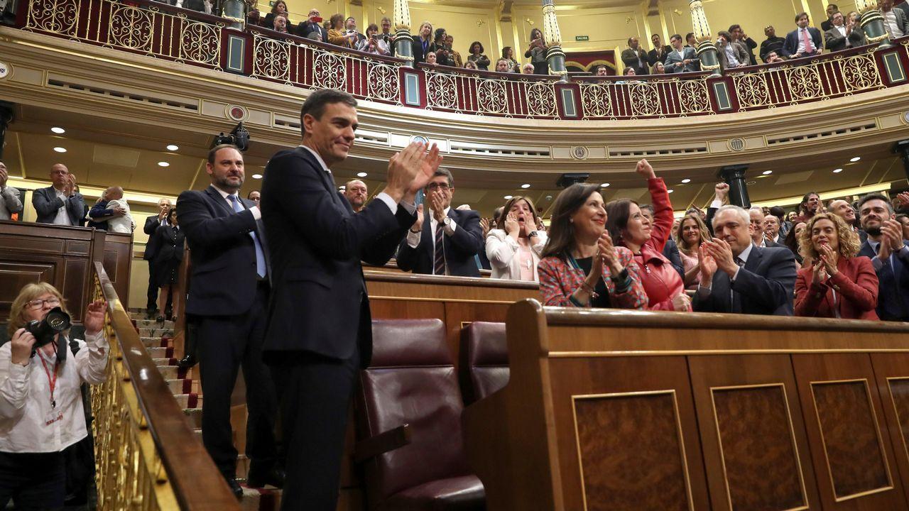 Pedro Sánchez, presidente del Gobierno. Aplaudido por toda la bancada socialista tars las votaciones.