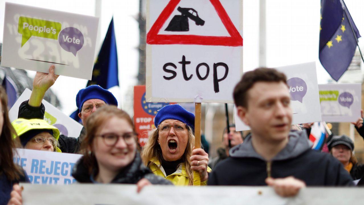 Oficina de empleo.Activistas «antibrexit» protesta en las puertas del Parlamento británico