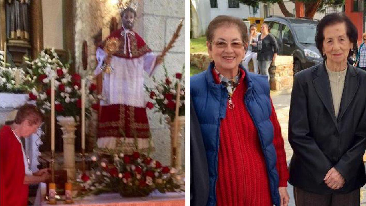 A la izquierda, Marité con la imagen de San Ramón; y a la derecha, con su madre