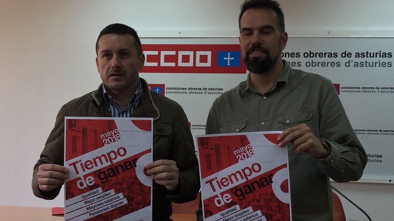 Manifestación del Primero de Mayo de 2018 en Asturias.Javier Fernández Lanero y Manuel Zapico convocan la manifestación del 1 de mayo