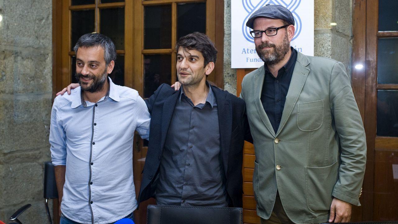 Ramón Espinar lanza un órdago a Iglesias y Montero.Xulio Ferreiro, Jorge Suárez y Martiño Noriega en una imagen de archivo