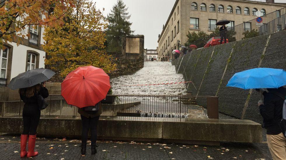 Cuando aguantar el paraguas se convierte en misión imposible.Fuertes lluvias y vientos a causa del temporal en Santiago, donde se han cerrado varios parques