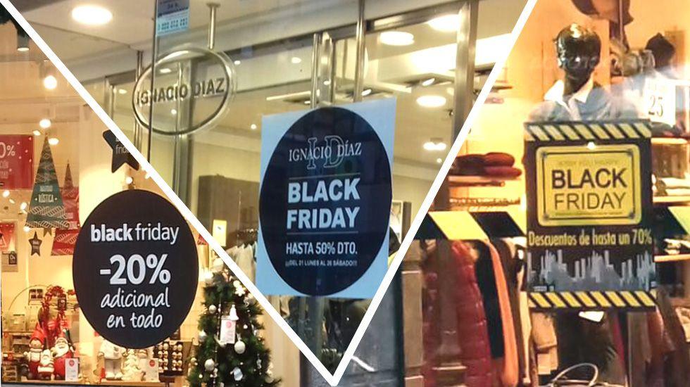 Carteles en comercios ovetenses que anuncian las promociones del «Black Friday»