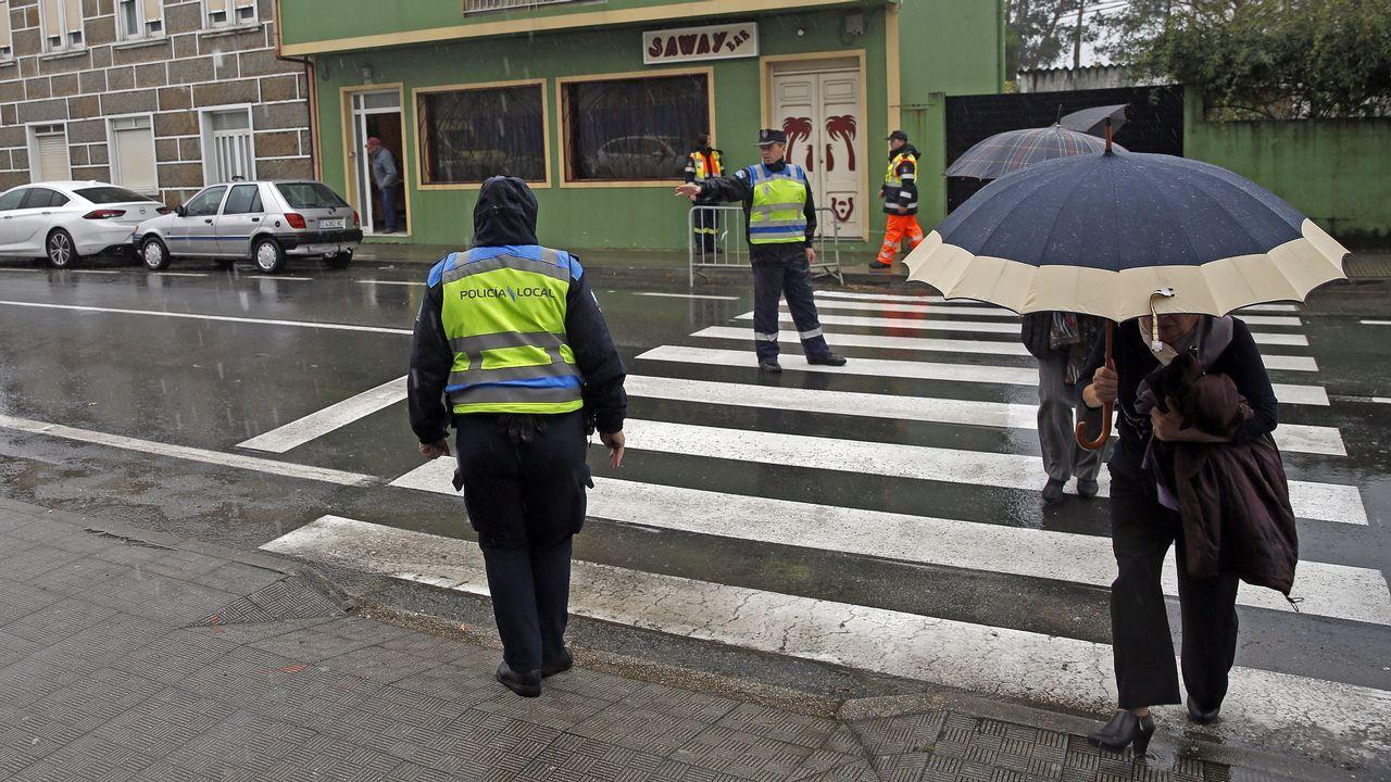 Temporal de lluvia en Boiro