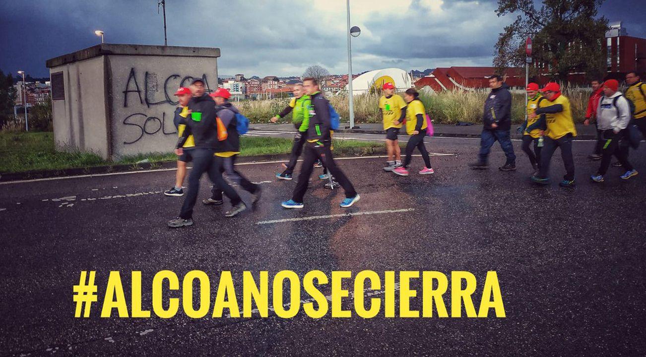 Kilómetros contra el cierre de Alcoa.Reyes Maroto