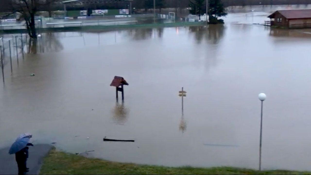 La Fresneda, inundada tras el paso de Hugo