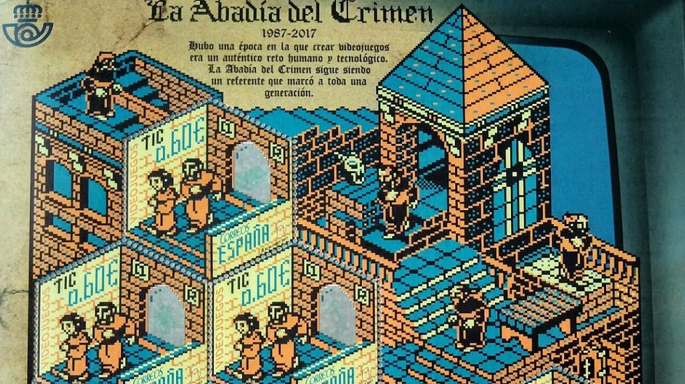 Sello dedicado por Correos al videojuego «La abadía del crimen», de Paco Menéndez, una de las personas para las que se pide una calle