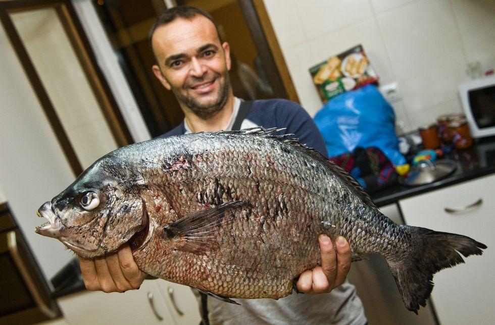 .Gerardo Martínez, ayer, con el sargo de 6,2 kilos, el más grande encontrado hasta ahora.