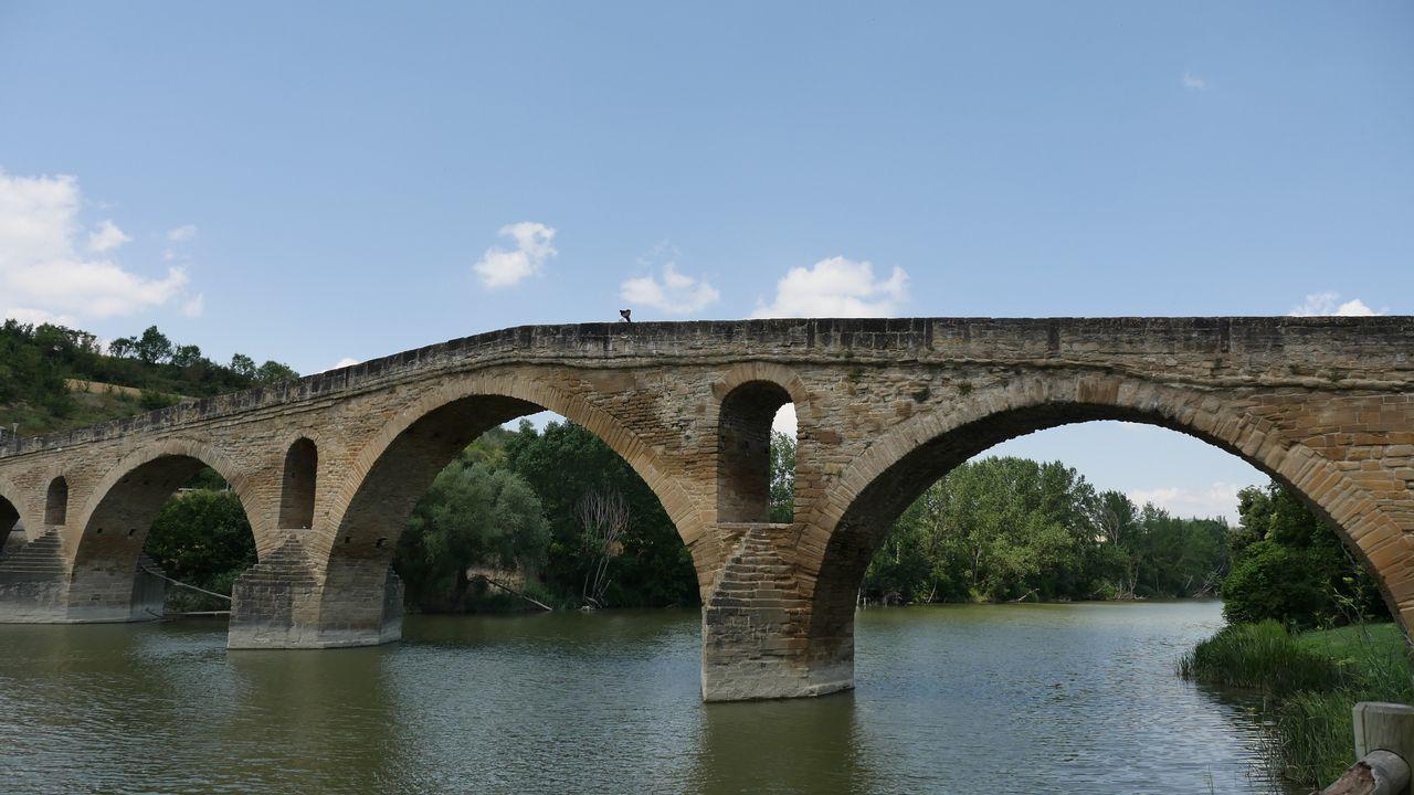 .Vista del puente románico sobre el río Arga, a su paso por la localidad navarra de Puente la Reina