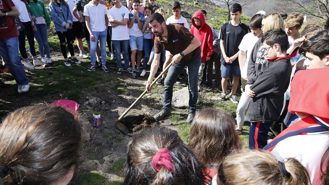 Guardia civil, incendios, incendio, fuego.Alumnos del colegio Salesianos plantan árboles en Chandebrito