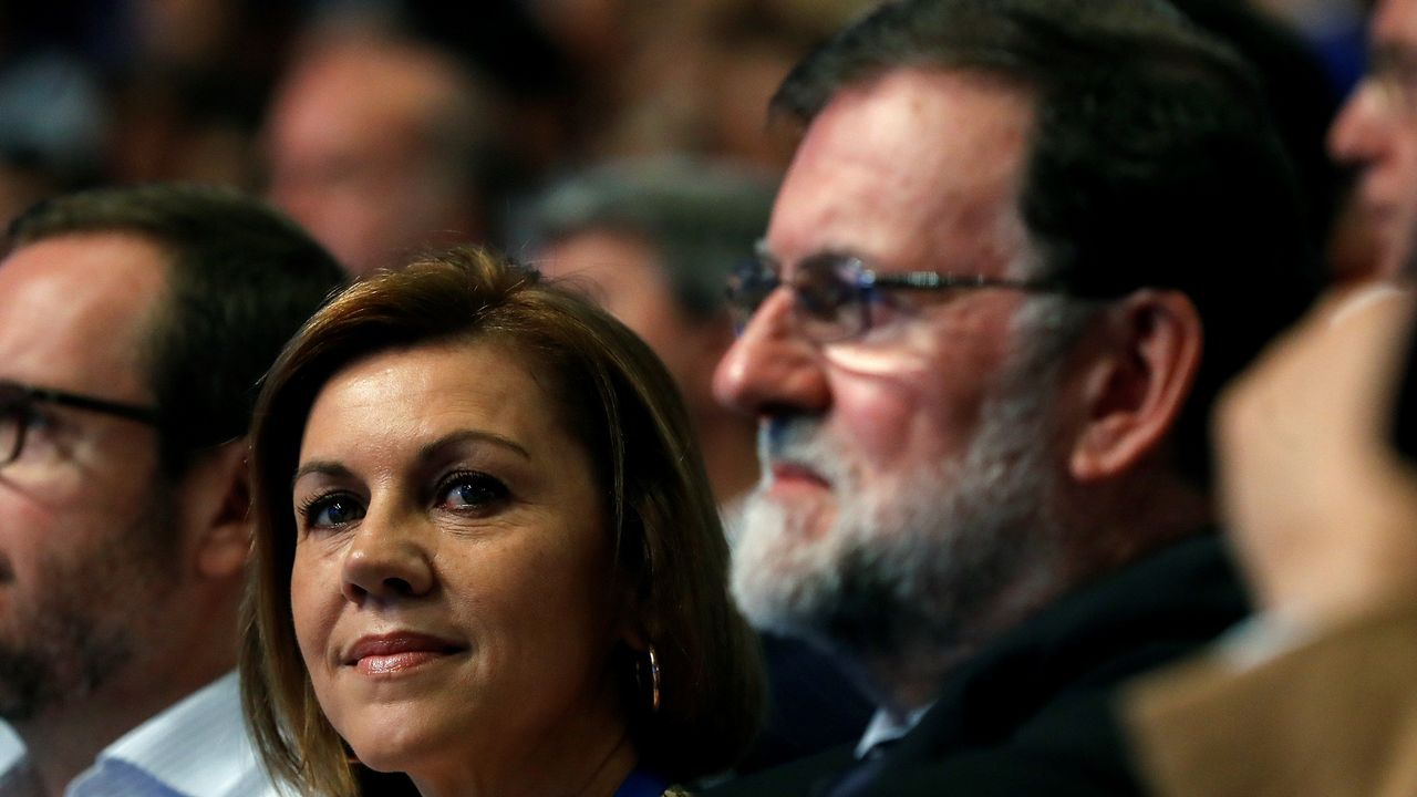 .Rajoy y Cospedal, esta mañana.