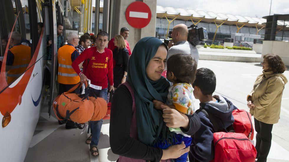 Maite Pagazaurtundúa.Refugiados, a su llegada a Madrid
