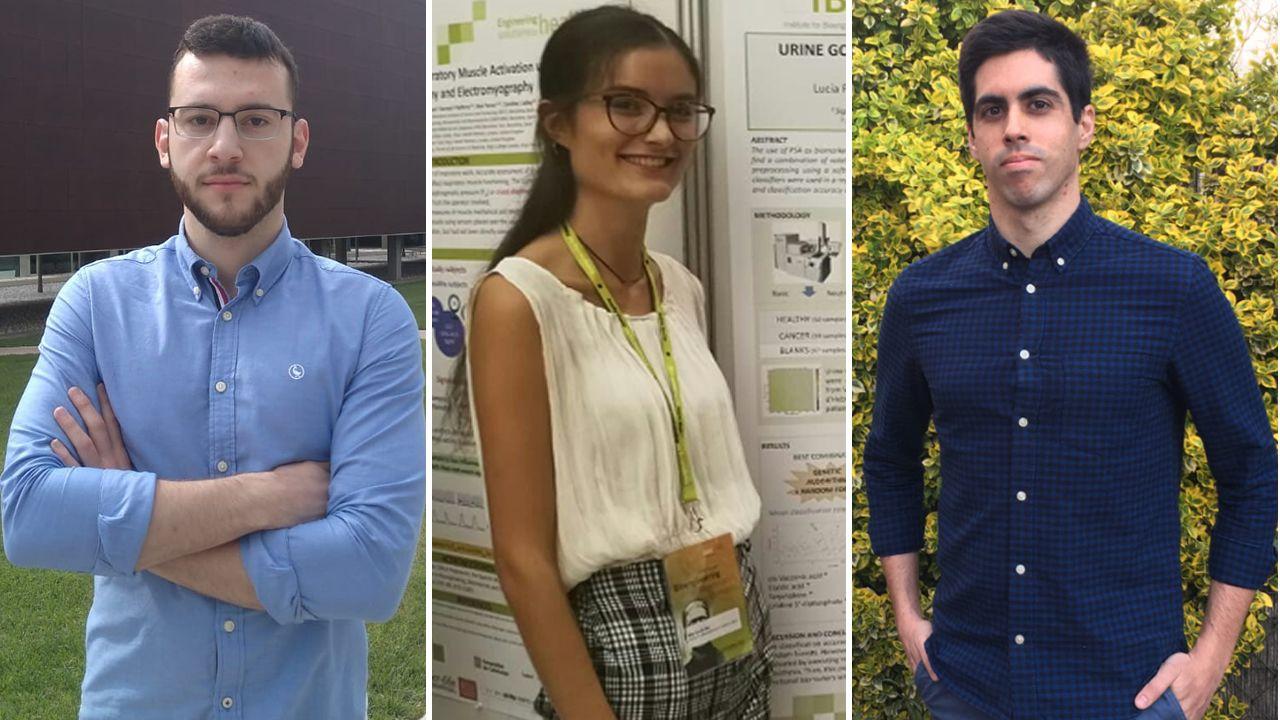Alejandro Costoya, Alba García y Samuel González, tres de los diez ganadores de las becas de postgrado de la Fundación Barrié para el próximo curso