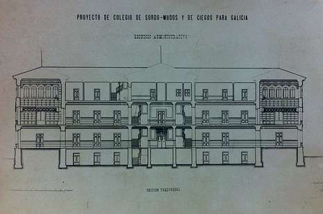Plano original del Colegio Regional de Sordomudos y Ciegos en San Caetano -hoy sede de la Xunta- firmado por Ricardo Velázquez en 1905
