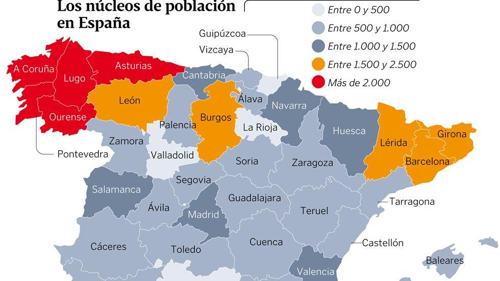 Los núcleos de población en España
