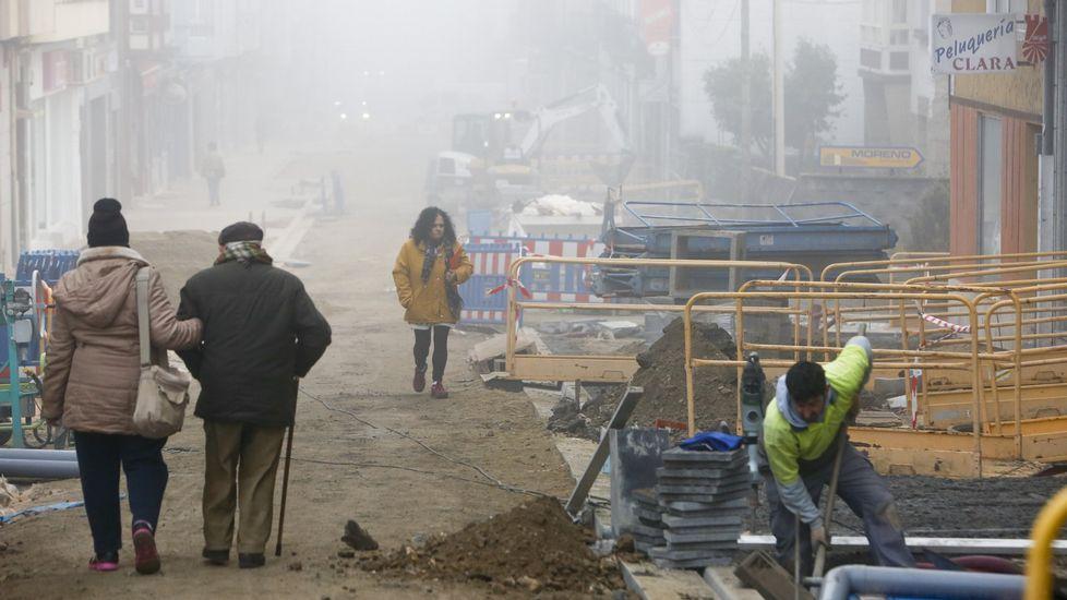 Fotografía de los primeros días de las obras en la calle Diego Pazos, en enero del año pasado
