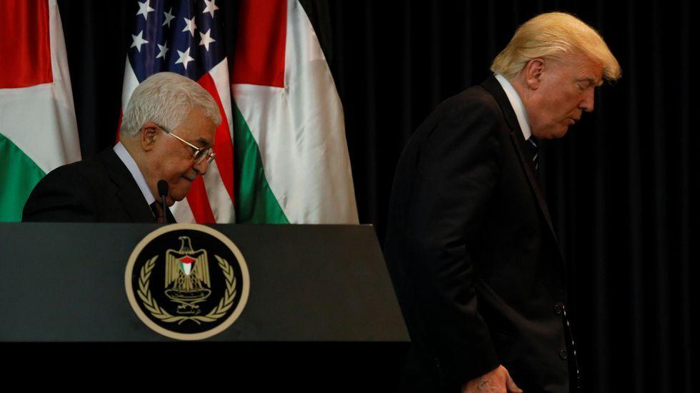 Protestas contra los controles de Israel en la Explanada de las Mezquitas.Trump, durante su visita al Museo del Holocausto de Jerusalén, el pasado 23 de mayo