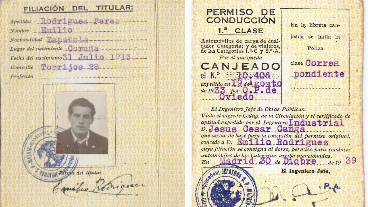 Documentos identificativos de Emilio Rodríguez, que había nacido en 1913 en A Coruña