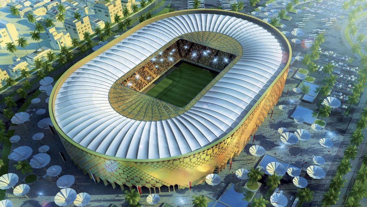 Imagen 3D creada por ordenador facilitada por el Comité de organización del Mundial de fútbol Qatar 2022 hoy, lunes, 6 de diciembre de 2010, que muestra la propuesta del que será el estadio Qatar University de la ciudad qatarí de Doha, una de las sedes del Mundial de fútbol Qatar 2022. El Qatar University tendrá capacidad para 43.520 personas.