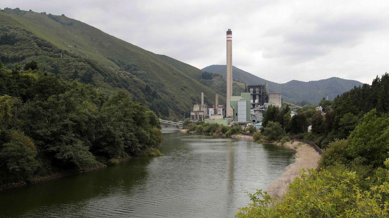 .Central térmica de Soto de la Barca (Tineo), de la compañía energética Gas Natural Fenosa.