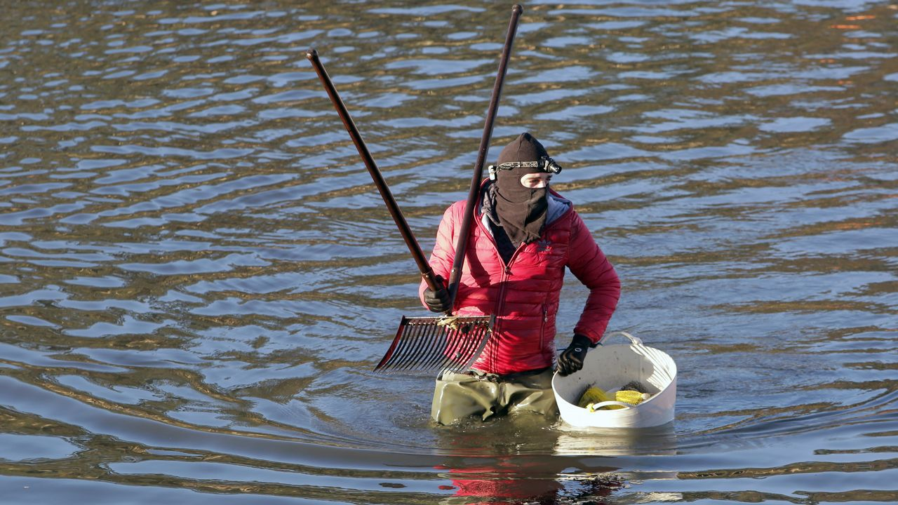 Mariscadores abrigados en la zona de Arousa