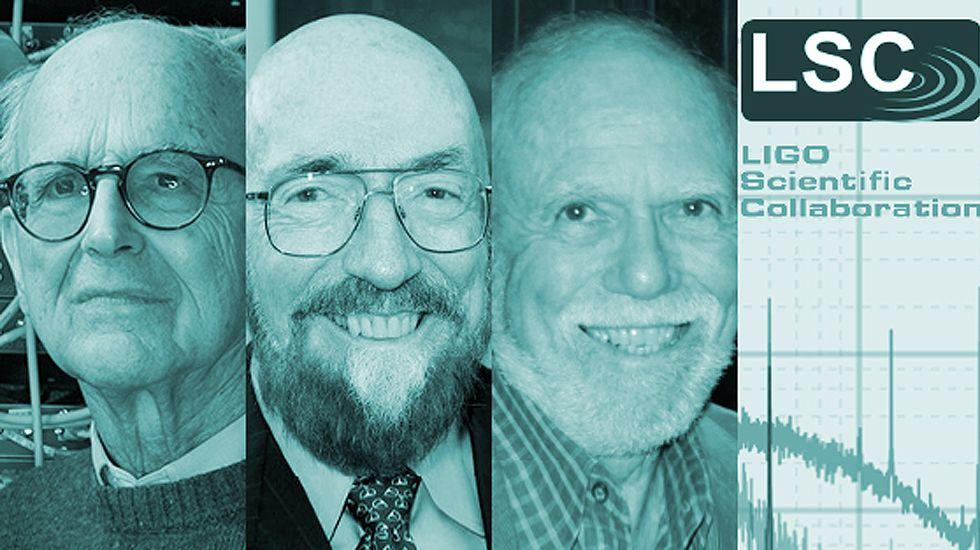 Montaje con la imagen de los ganadores de Investigación 2017, Rainer Weiss, Kip S. Thorne y Barry Barish.Montaje con la imagen de los ganadores de Investigación 2017, Rainer Weiss, Kip S. Thorne y Barry Barish