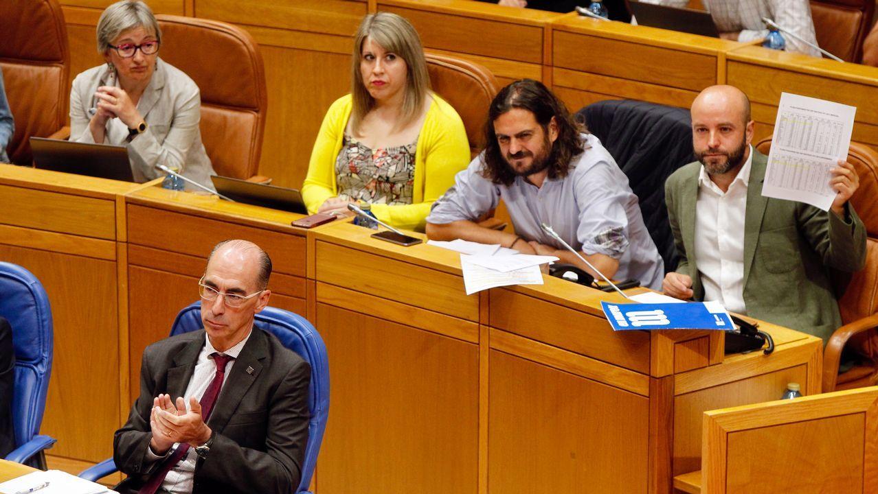 Feijoo, durante la sesión parlamentaria de ayer