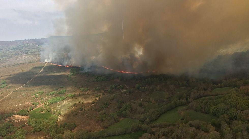 Incendio forestal en el pulmón de Cenlle.Ana Pontón, en el Parlamento