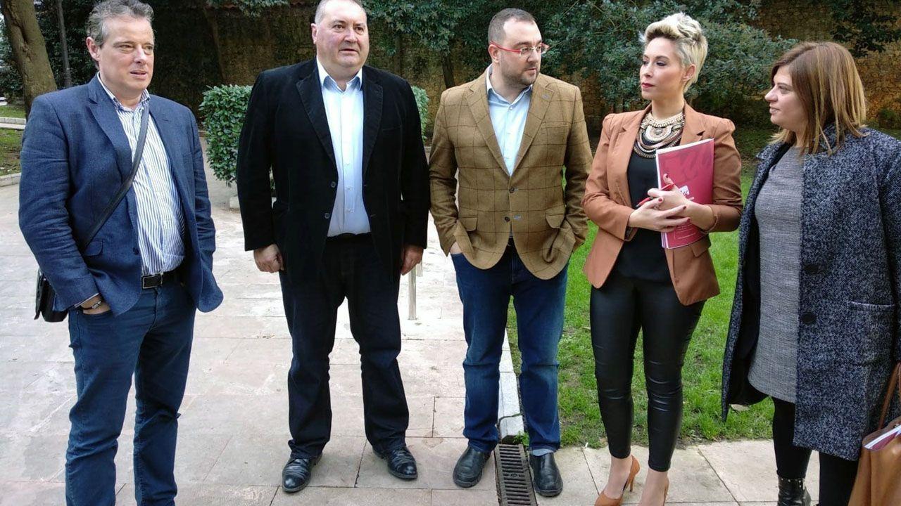 Marcelino Marcos Lídez, Ramón Argüelles, Adrián Barbón, Elsa Valle y Gimena Llamedo