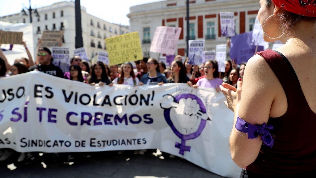 Valeria Quer, en la cabecera de la protesta en Puerta del Sol