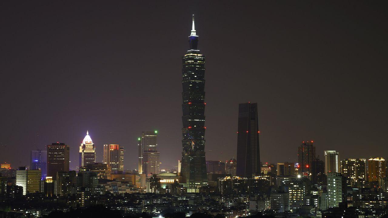 Vista del rascacielos Taipei 101, en Taiwán