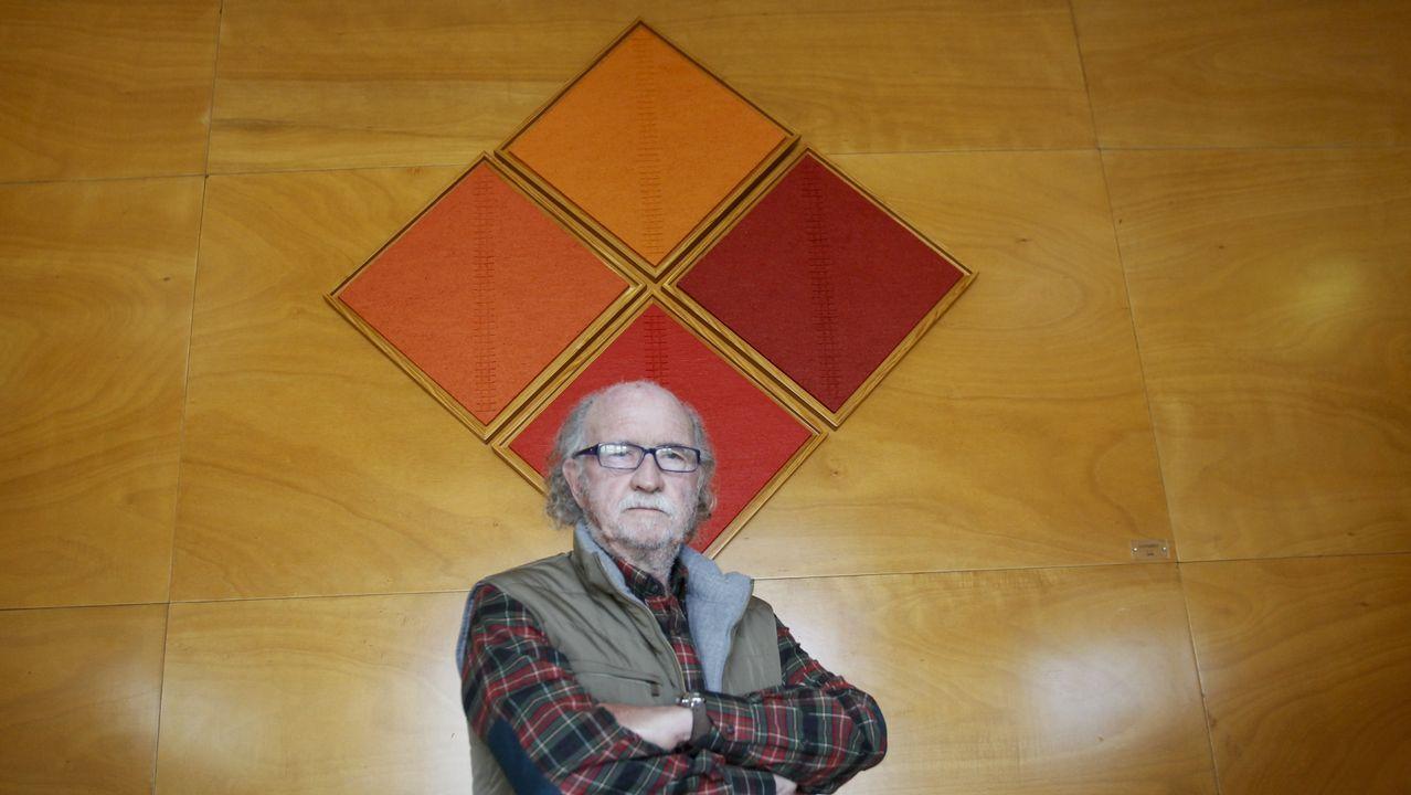 .Loureiro posa delante del cuadro sin títilo y de estilo minimalista que hace ya casi dos décadas cedió por tiempo indefinido a la Facultad de Humanidades