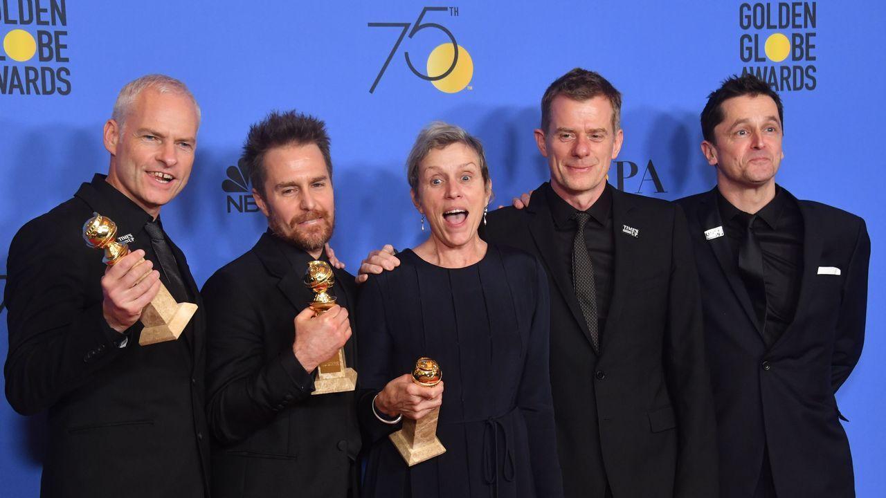 Martin McDonagh, Sam Rockwell, Frances McDormand, Graham Broadbent y Peter Czernin de «Tres anuncios en las afueras».