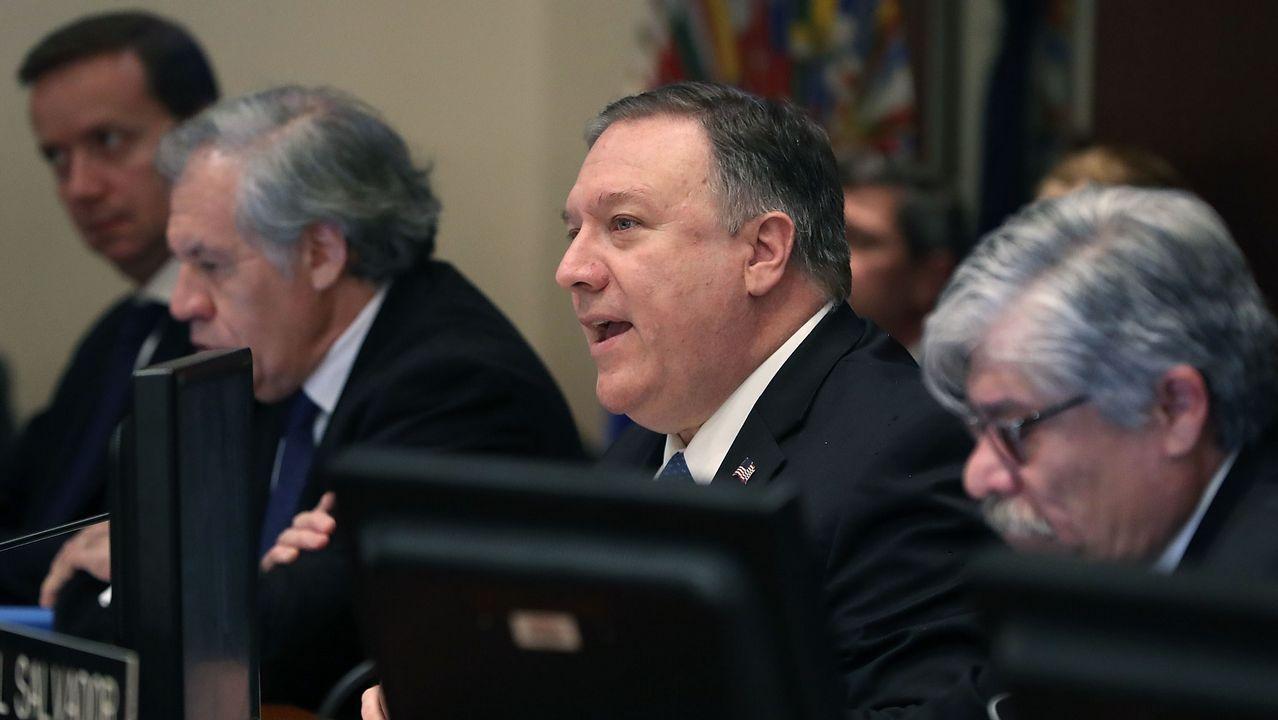 | REUTERS.Mike Pompeo, durante la reunión del Consejo Permanente de la OEA