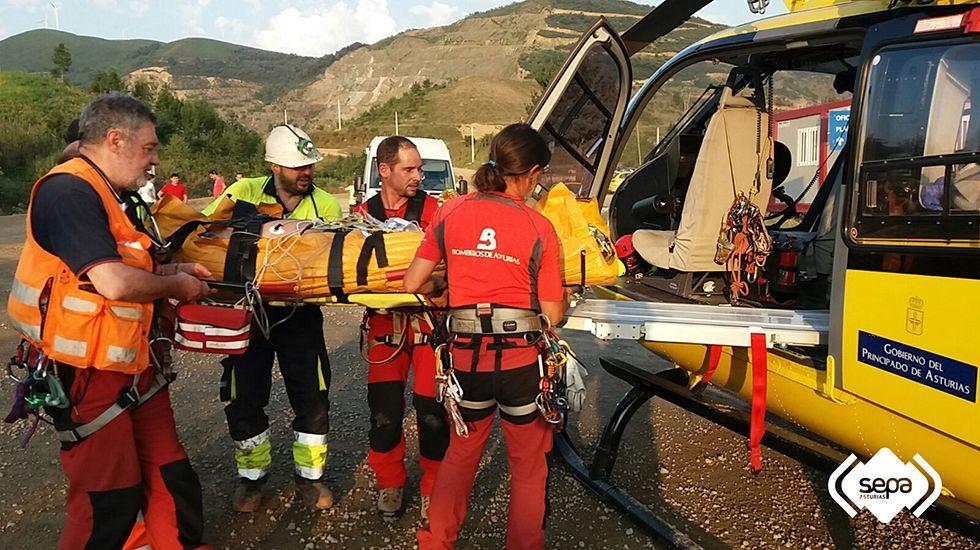 .Minero herido en Belmonte de Miranda