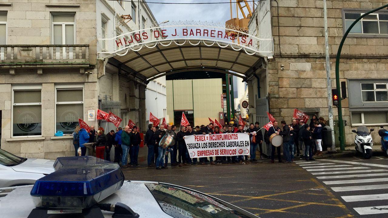 Protesta de los trabajadores de seguridad del astillero Barreras.Explosión en México
