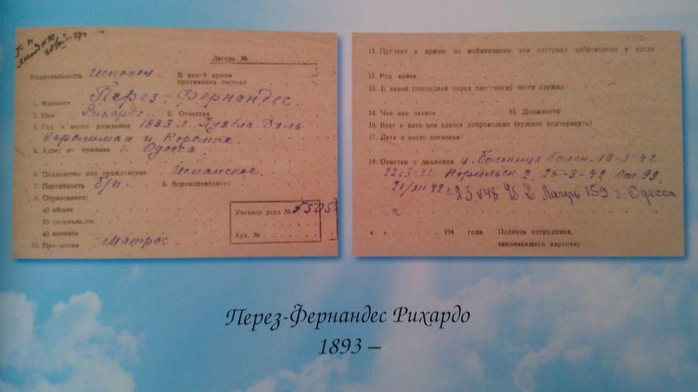 Ficha del marino Ricardo Pérez Fernández (Pobra do Caramiñal, 1893), que estuvo recluido en el campo de trabajo de Spassk. Falleció en el campo de Odessa el 16 de febrero de 1949. Facilitada por Marat Absemetov, director de los Archivos Nacionales de la República de Kazajstán.