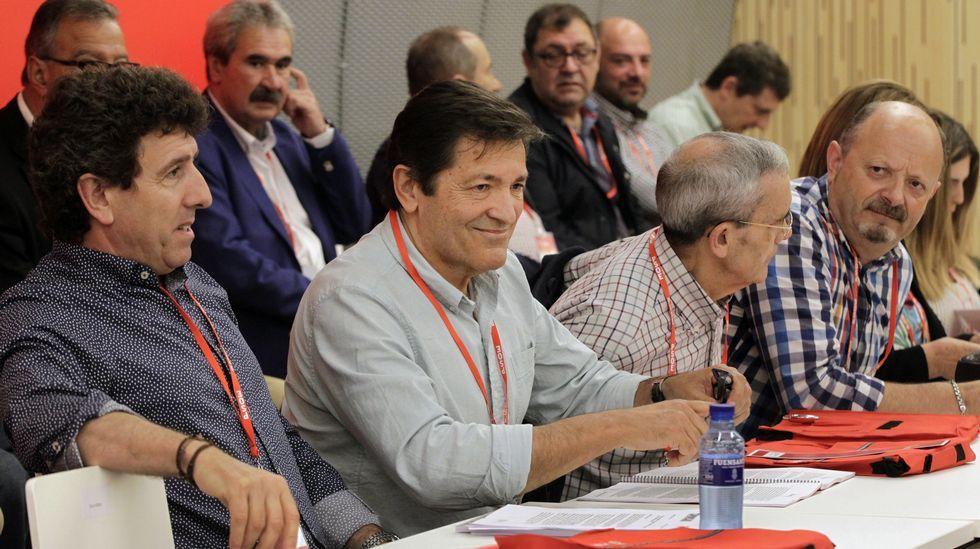 . El presidente de Asturias y presidente de la Comisión Gestora del PSOE, Javier Fernández (2-i), que renunció a presentarse a la reelección como secretario general de los socialistas asturianos en el congreso que se celebrará después de este verano, al inicio del Congreso extraordinario de la Federación Socialista Asturiana