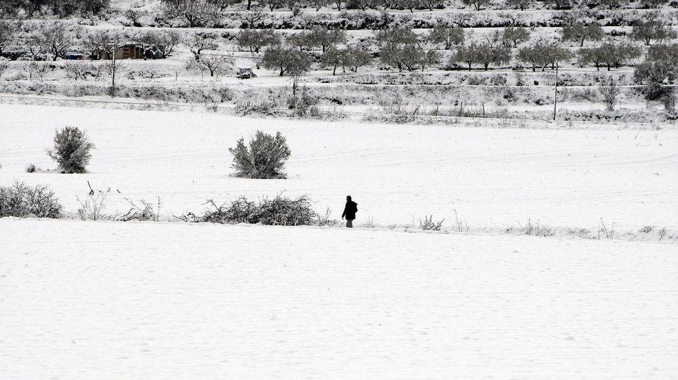 Intensa nevada en la localidad alicantina de Benassau