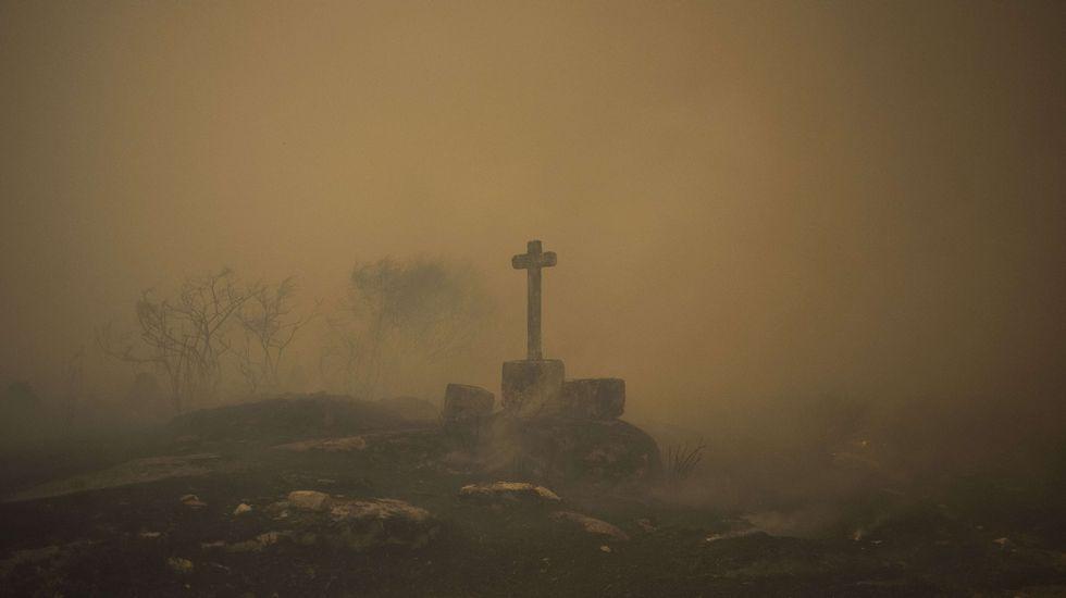 Una mujer en un campo quemado