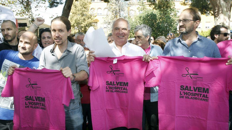 Pablo Iglesias junto a Lluís Rabell y Joan Herrera.