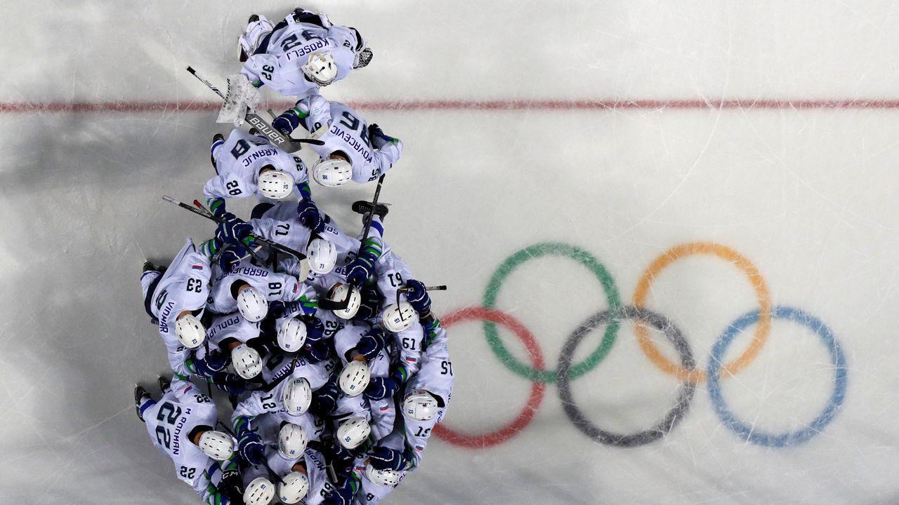 Una de las competiciones de hockey sobre hielo en los juegos de Pyeongchan deja esta curiosa imagen.