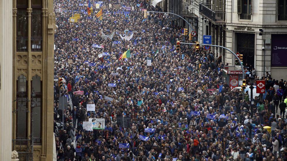 Manifestación en Barcelona en apoyo a los refugiados