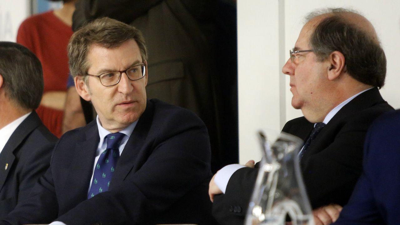 Feijoo en el Comité Ejecutivo Nacional del PP junto al presidente de Castilla y León, Juan Vicente Herrera, el día de la dimisión de Rajoy tras el triunfo de la moción de censura.