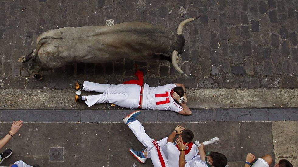 Corredores ante los toros de la ganadería Miura en el último encierro de los Sanfermines 2015