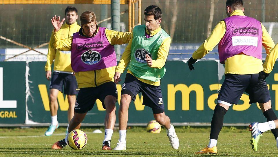 Juan Carlos y Wilk, en el entrenamiento de este lunes