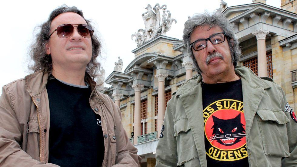 Gijón.Alberto Cereijo y Charly Domínguez, en el patio de La Laboral, en Gijón